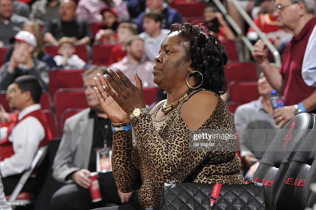 Monja Willis mother of James Harden #13 of the Houston Rockets reacts to a play during the game against the Miami Heat on November 12, 2012 at the Toyota Center in Houston, Texas.
