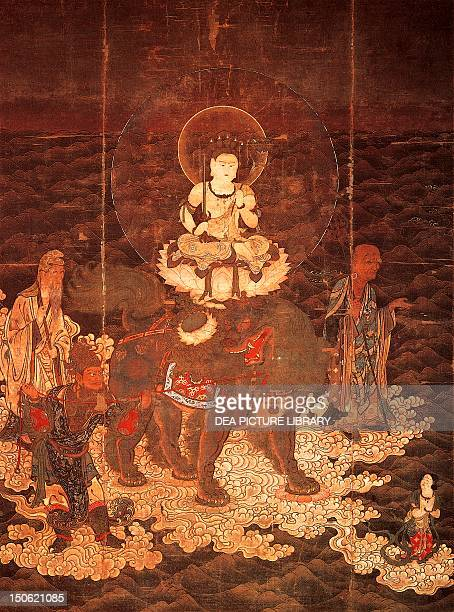 Monju Bodhisattva of full consciousness crossing the ocean painting on silk Japan Japanese Civilisation Kamakura period 12th14th century