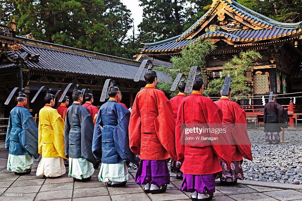 Monk ceremony at the Toshugu shrine, Nikko, Japan
