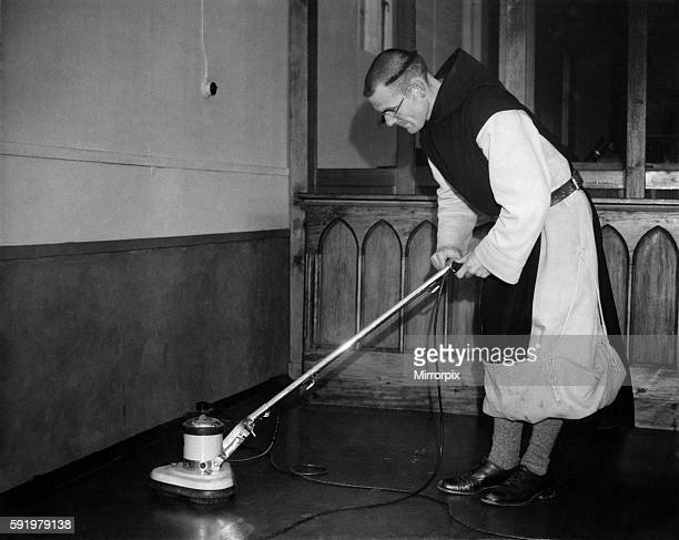 Monk cleaning the monastary floor February 1948 P000186
