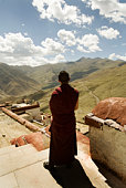Monk looking at hills, rear view
