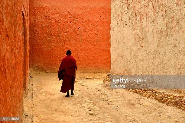 A monk walking in the temple
