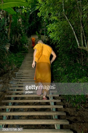 Monk walking up steps Kuang Si Falls, rear view : Stock Photo