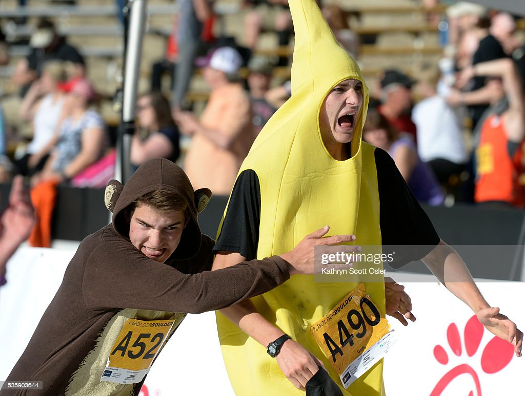 A monkey chasing a banana race to the finish line. The 38th BolderBOULDER takes place along Boulder's streets with the finish line of the 10k race at Folsom Field on the University of Colorado campus on Monday, May 30, 2016.