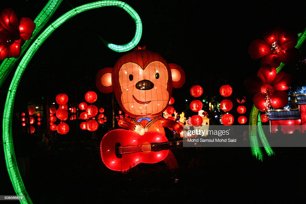 A Monkey Lantern Is Seen Inside The Jenjarom Temple Ahead Of Lunar New Year