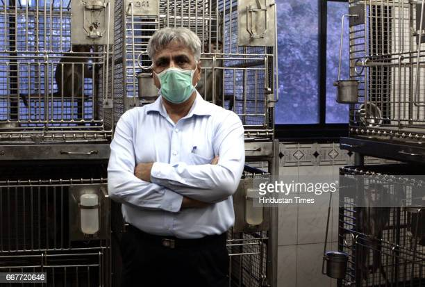 Monkeys Dr Chander Puri Director of National Institute of Research in Reproductive Health with monkeys inside the animal house in the institute at...
