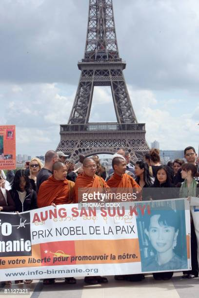 Monks and civilians demonstrate at the Parvis des Droits de l'Homme in Paris on May 17 2008 to express their solidarity with the Myanmar's population...