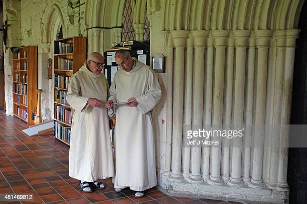 Monks at Pluscarden Abbey attend vespers in the chapel on July 20 2015 in Elgin Scotland Monks at Abbey which owes its foundation to King Alexander...