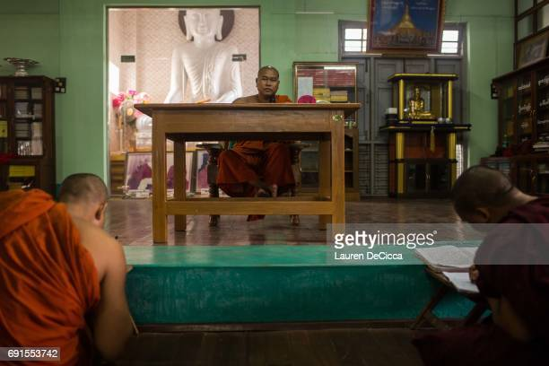 Monks attend class at the Masoeyein Monastery home of Wirathu the head of the nationalist Buddhist group in Myanmar on May 31 2017 in Mandalay Burma...