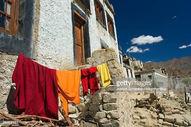 Monk's clothes on line, Tikse (Tiksay) gompa (monastery), Tikse (Tiksay), Ladakh, Indian Himalayas, India, Asia