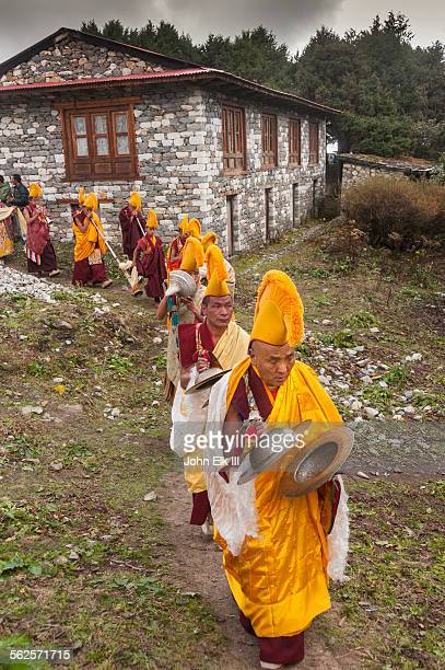 Monks in procession on temple grounds