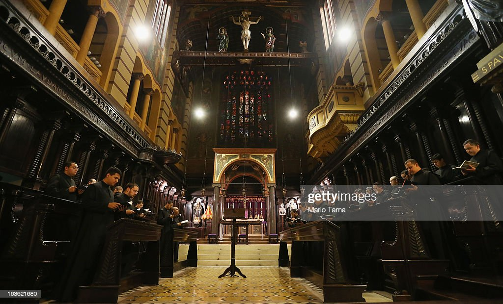 Monks perform a prayer at Sao Bento Monastery following the election of the new pope at the Vatican on March 13, 2013 in Sao Paulo, Brazil. Cardinal Jorge Bergoglio of neighboring Argentina was elected as the first pope from South America. Brazil has more Catholics than any country in the world.