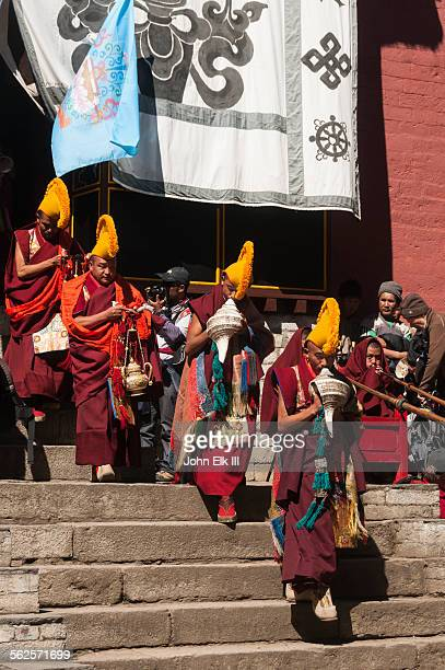 Monks playing music for temple dances