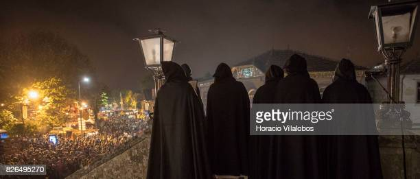 Monks pray for salvation during a recreation of the arrival of the plague in Portugal in the year 1349 during the 21st edition of the Medieval...
