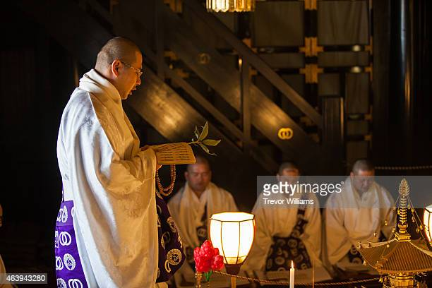 Monks pray on a lucky talisman twice daily in the weeks leading up to the Hadaka Matsuri or Naked Festival at Saidaiji Temple on February 19 2015 in...