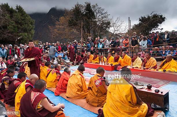 Monks seated for Mani Rimdu celebration