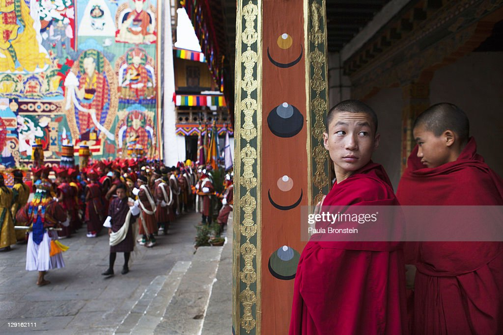 Monks the procession for the marriage of his majesty King Jigme Khesar Namgyel Wangchuck, 31 and Queen Ashi Jetsun Pema, 21, on October 13, 2011 in Punakha, Bhutan. The Dzong is the same venue that hosted the King's historic coronation ceremony in 2008. The popular Oxford-educated king's ceremony will be followed by celebration in the capital and countryside.