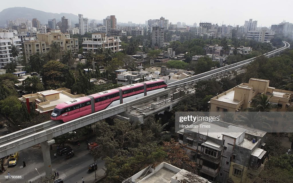 Mono Rail test drvie between Wadala and Chembur on February 16, 2013 in Mumbai, India. The 19.54 km long Chembur-Wadala-Jacob Circle monorail project will be the country's first monorail route and is expected to be operational by August this year.