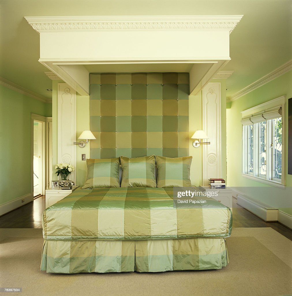 Monochromatic green bedroom stock photo getty images for Monochromatic bedroom designs