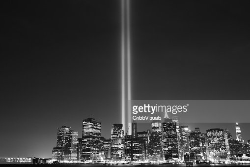 Monochrome effect on the September 11 Memorial Lights, NYC