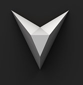 Monochrome Paper Polygonal Font on Dark Grey Background. Logo Concept. Letter V. 3d rendering
