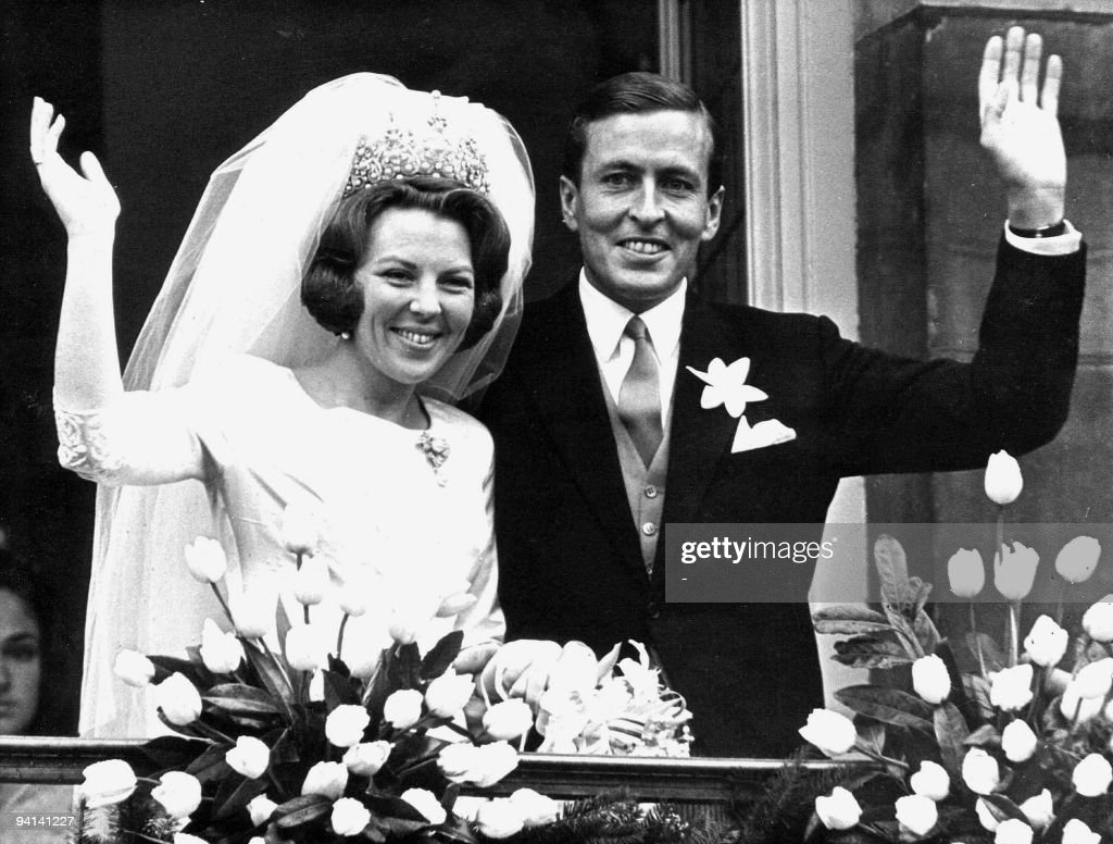 Monochrome photo dated 10 March 1966 of newly-wed Beatrix of the Netherlands and Prince Claus in Amsterdam. Prince Claus died aged 76 06 October 2002 at a hospital in Amsterdam. AFP PHOTO ANP FILES