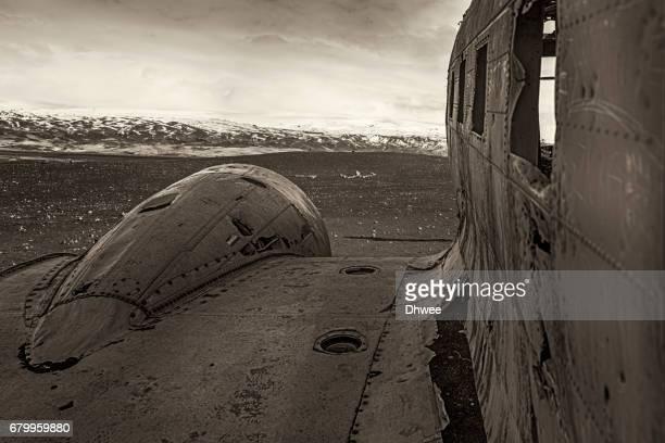 Monochrome Wrecked US Navy Douglas Super DC-3 Plane