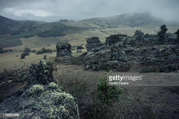 Monoliths of Suesca at nightfall