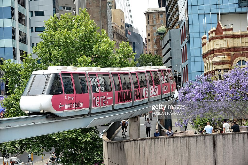 A monorail carriage heading towards Darling Harbour in downtown Sydney on November 9,2012. Earlier this year the New South Wales government announced the monorail would be scrapped and replaced with a lightrail system. First built in 1988, almost three million people annually use the monorail which runs around central Sydney and Darling Harbour. Most are passengers are tourists. AFP PHOTO/ROSLAN RAHMAN
