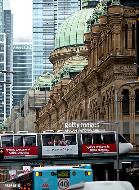 A monorail carriage passes through the city's central business district towards the Darling Harbour in Sydney on January 2 2013 The popular monorail...
