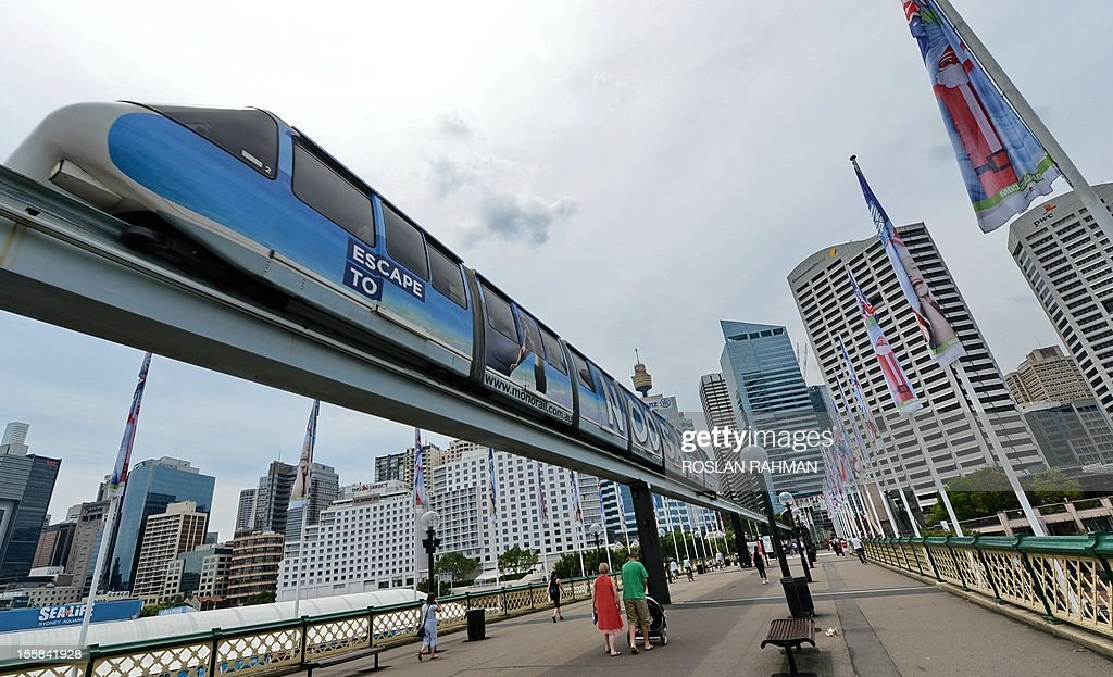 A monorail carriage plies across Darling Harbour in downtown Sydney on November 9,2012. Earlier this year the New South Wales government announced the monorail would be scrapped and replaced with a lightrail system. First built in 1988, almost three million people annually use the monorail which runs around central Sydney and Darling Harbour. Most passengers are tourists.