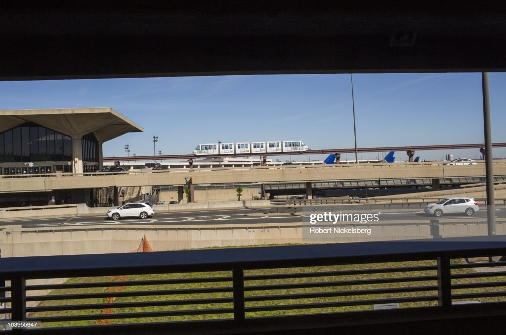 A monorail passenger train moves through the Newark Liberty International Airport March 9, 2013 in Newark, New Jersey.