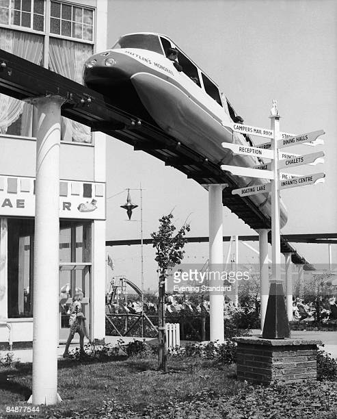 A monorail train at Butlin's holiday camp at Minehead Somerset circa 1967