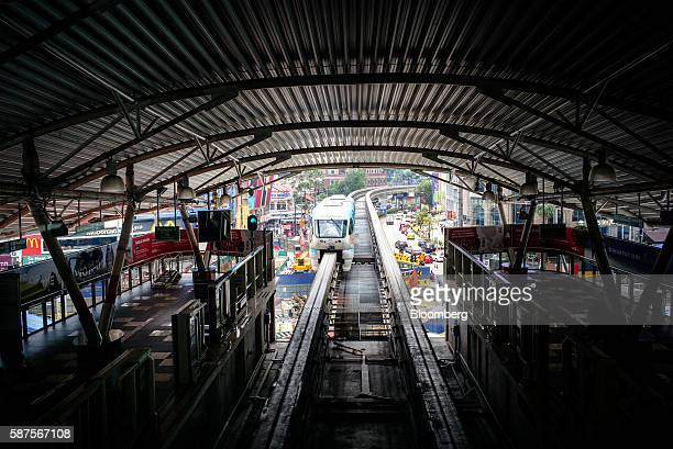 Monorail train operated by Rapid Rail Sdn Bhd travels along an elevated track towards the Bukit Bintang station in downtown in Kuala Lumpur Malaysia...