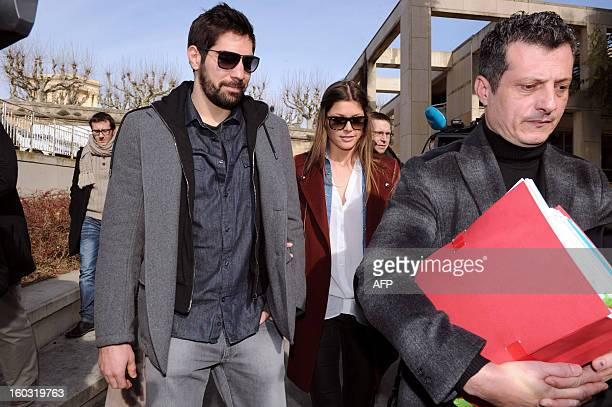 Monpellier handball player Nikola Karabatic his girlfriend Geraldine Pillet and his lawyer Michael Corbier arrive at Montpellier's courthouse on...