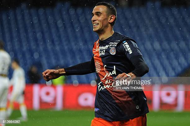 Monpellier's French midfielder Ellyes Skhiri celebrates after scoring a goal during the French L1 football match between Montpellier and Lille at the...