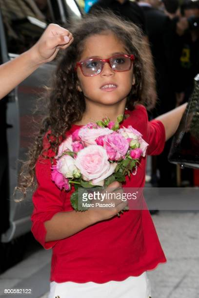 Monroe Cannon leaves the Plaza Athenee Dorchester Collection Hotel on Avenue Montaigne on June 24 2017 in Paris France