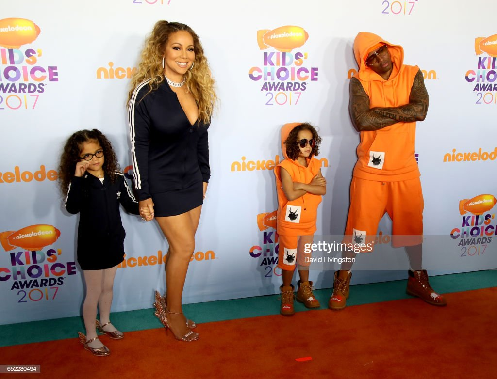 Monroe Cannon, recording artist Mariah Caery, Moroccan Cannon, and tv personality Nick Cannon attend Nickelodeon's 2017 Kids' Choice Awards at USC Galen Center on March 11, 2017 in Los Angeles, California.