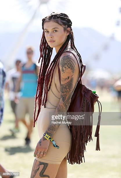 Monroe Gallatin of Los Angeles wearing a bodysuit from American Apparel and backpack from Forever 21 during the 2015 Coachella Valley Music and Arts...