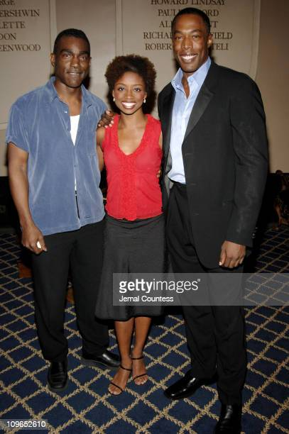 Monroe Kent Montego Glover and Michael McElroy during Broadway's Celebrity Benefit for Hurricane Relief Backstage at The Gershwin Theatre in New York...