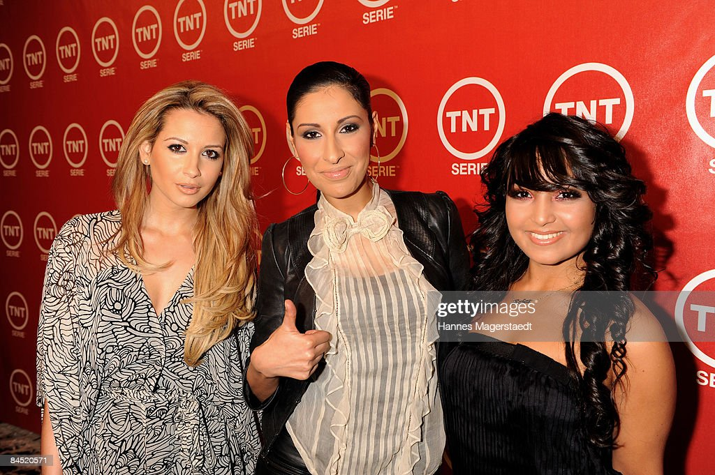 Monrose members Mandy Carpristo, Senna Guemmour and Bahar Kizil attend the TNT Serie Channel Launch at the Isarpost on January 28, 2009 in Munich, Germany.