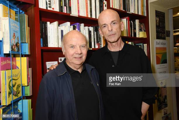 Monseigneur Jacques Gaillot and Julien Cendres attend 'Le Pays ou Je Suis Nee' Francoise Sagan Book Launch at Ecume des Pages on October 19 2017 in...