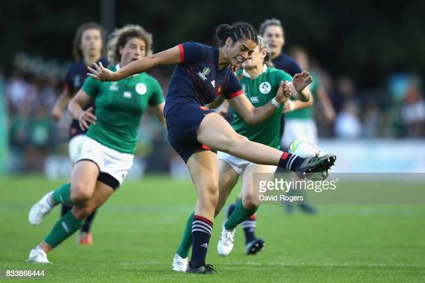 Monserrat Amedee of France clears the ball during the Women's Rugby World Cup Pool C match between France and Ireland at UCD Bowl on August 17 2017...