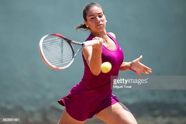 Monserrat Gonzalez of Paraguay plays a forehand during a Tennis match as part of the XVII Bolivarian Games Trujillo 2013 at Luz Marina Neyra Coliseum...