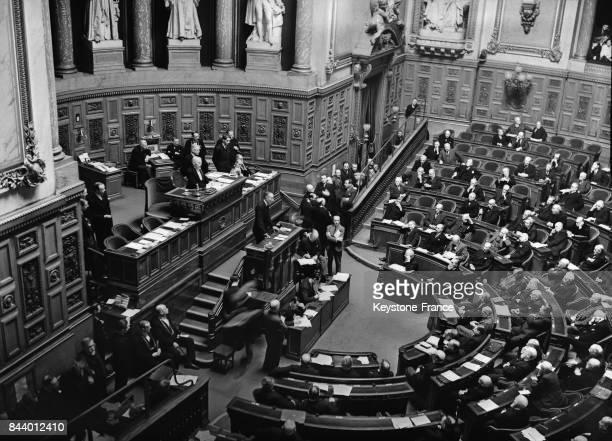 Monsieur Léon Bérard Garde des Sceaux pendant son discours à la tribune du Sénat à Paris France le 23 décembre 1935