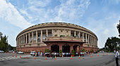 Monsoon clouds seen over the Parliament House at the opening day of the Monsoon Session on July 18 2016 in New Delhi India A total of 25 bills...
