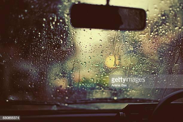 Monsoon rain on a windshield, uttarakhand, india