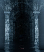 Monster creature hiding in an old crypt that full of water,3d rendering**night scene contain some noise on skin of main subject