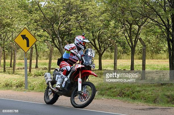 Monster Energy Honda Team's Pedro Bianchi Prata of Portugal arrives in Luque near Asuncion Paraguay on December 30 for technical checks of the...