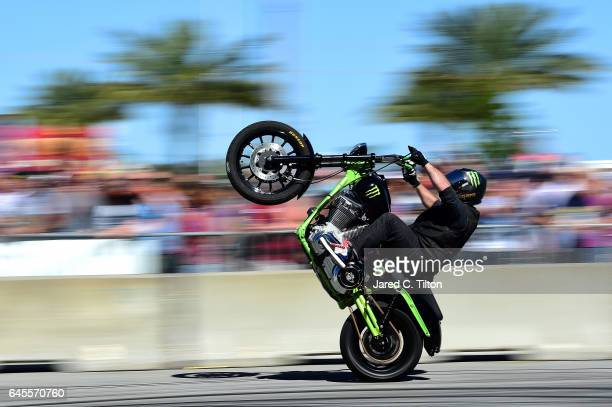 Monster Energy motorcycle rider performs in the Fan Zone prior to the 59th Annual DAYTONA 500 at Daytona International Speedway on February 26 2017...